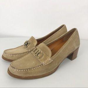 Salvatore Ferragamo Loafers Suede Heels Size 8